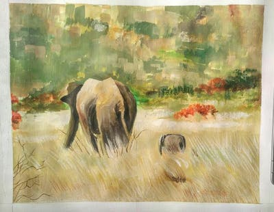 A painting of wildlife, elephants and mammoths, elephant, terrestrial animal, grassland, ecosystem, wilderness, indian elephant, fauna, safari