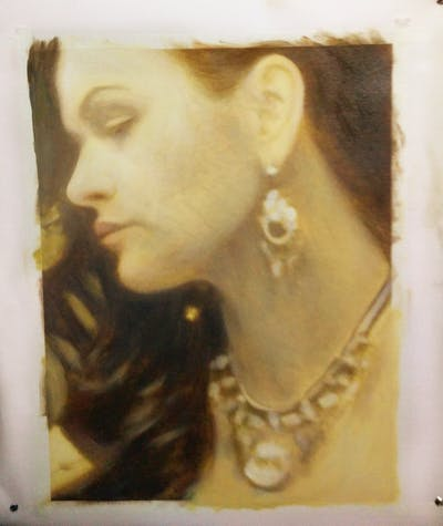 A painting of jewellery, earrings, chin, fashion accessory, ear, cheek, neck, lip, jaw