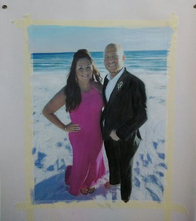 A painting of pink, photograph, formal wear, fun, smile, event, dress, vacation, gown, wedding