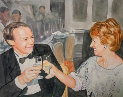 A painting of stemware, event, formal wear, fashion, ceremony, socialite, tableware, jewellery, drink, suit