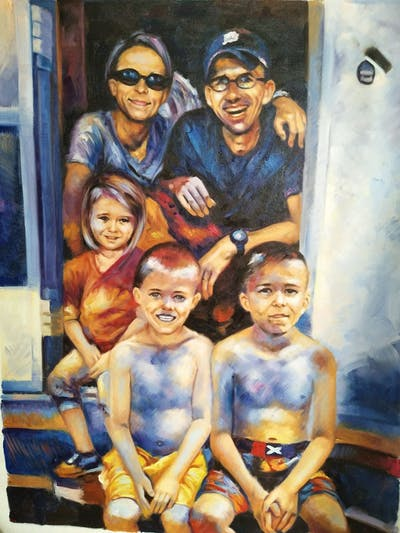 A painting of people, trunk, abdomen, child, fun, smile, family, girl, muscle, joint