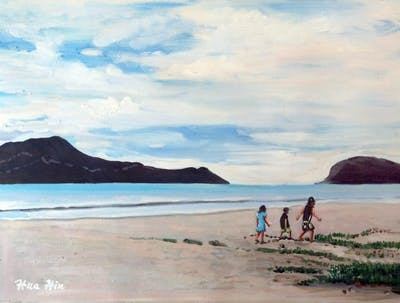 A painting of beach, coastal and oceanic landforms, body of water, sea, coast, sky, shore, ocean, horizon, promontory