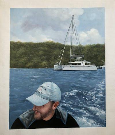 A painting of water, sailing, water transportation, boat, sail, sailboat, dinghy sailing, sailing, sky, sea