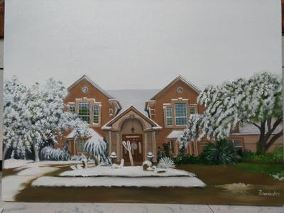 A painting of home, snow, winter, house, residential area, property, real estate, cottage, neighbourhood, tree
