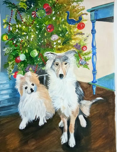 A painting of dog, dog breed, dog breed group, dog like mammal, shetland sheepdog, christmas, icelandic sheepdog, snout, tree, pomeranian
