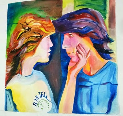 A painting of interaction, girl, forehead, mouth, kiss, conversation, friendship, neck, human behavior, ear
