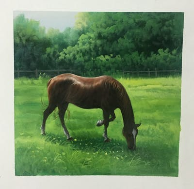 A painting of horse, pasture, grazing, grass, ecosystem, grassland, mare, horse like mammal, fauna, mane