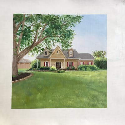 A painting of property, home, real estate, house, cottage, estate, farmhouse, land lot, elevation, landscape