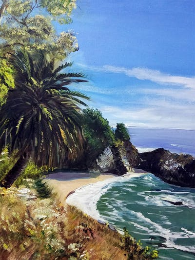 A painting of coast, sea, body of water, vegetation, coastal and oceanic landforms, shore, sky, promontory, arecales, tree