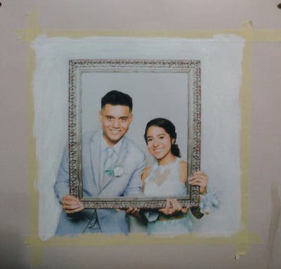A painting of picture frame, material