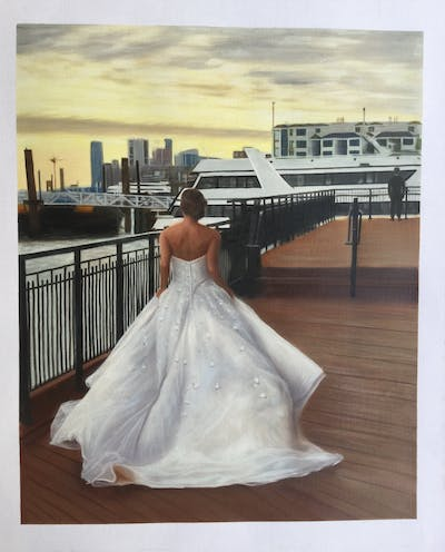 A painting of gown, wedding dress, dress, bridal clothing, bride, shoulder, wedding, bridal accessory, girl