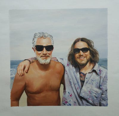 A painting of hair, facial hair, beard, sunglasses, eyewear, moustache, glasses, chest hair, vision care, vacation