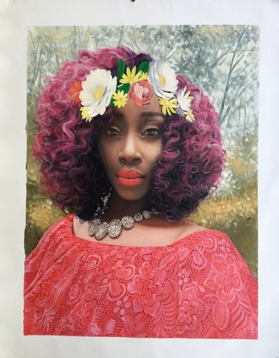 A painting of pink, flower, beauty, human hair color, lilac, magenta, hair accessory, lady, purple, flower arranging