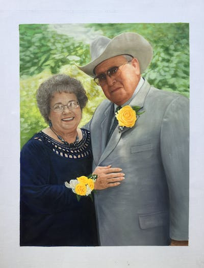 A painting of flower, woman, man, yellow, senior citizen, suit, plant, male, smile, fun