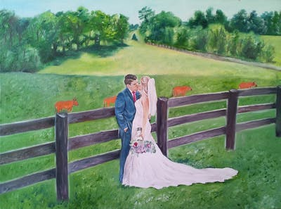 A painting of photograph, wedding, bride, groom, grass, dress, wedding dress, gown, plantation, ceremony