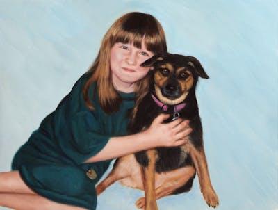 A painting of dog, skin, mammal, dog like mammal, vertebrate, dog breed, sitting, fun, smile, girl