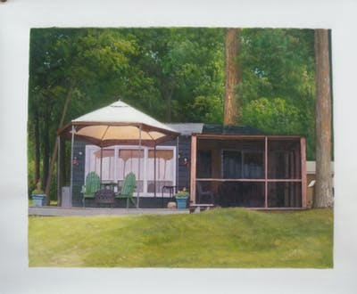 A painting of property, shed, cottage, house, real estate, yard, backyard, home, outdoor structure, shade