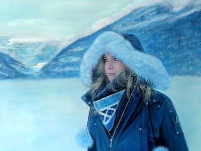 A painting of winter, mountainous landforms, snow, freezing, mountain range, beauty, mountain, glacial landform, sky, fun
