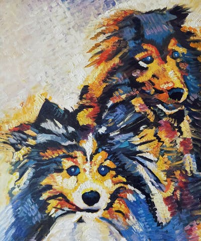 A painting of dog, dog breed group, painting, dog like mammal, dog breed, snout, watercolor paint, art, carnivoran, pomeranian
