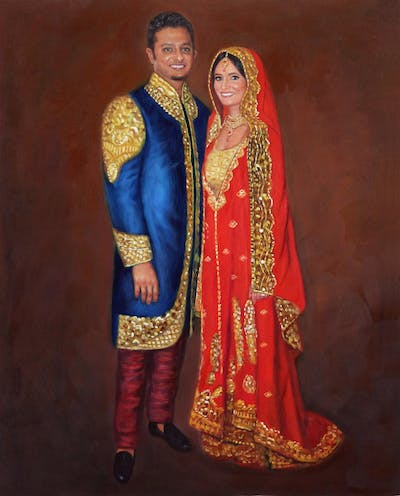 A painting of marriage, ceremony, formal wear, bride, gown, fashion, dress, tradition, sari, wedding reception