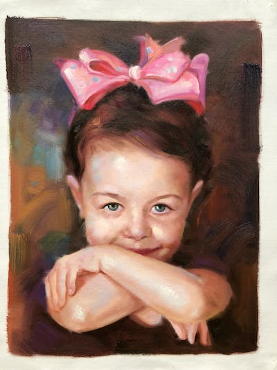 A painting of skin, head, ear, hair accessory, forehead, cheek, hand, girl, child, smile