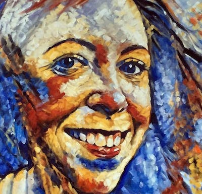 A painting of face, eyebrow, facial expression, nose, person, smile, beauty, cheek, chin, lip