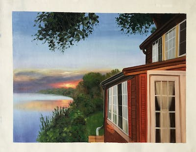 A painting of sky, property, house, reflection, architecture, home, roof, facade, real estate, window