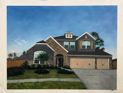 A painting of home, house, property, residential area, neighbourhood, suburb, real estate, roof, siding, building