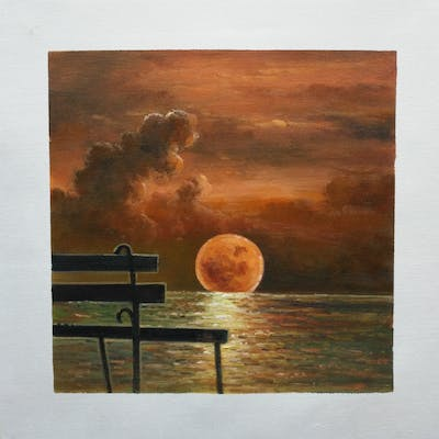 A painting of nature, moon, sky, atmosphere, moonlight, astronomical object, phenomenon, night, heat, painting