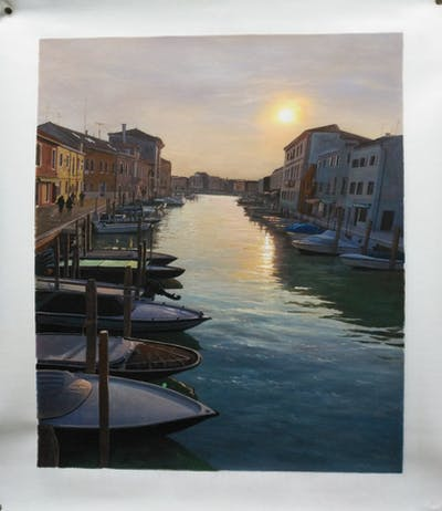 A painting of waterway, water, reflection, sky, canal, body of water, sea, evening, sunset, marina