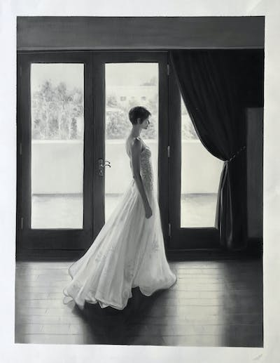 A painting of gown, wedding dress, bridal clothing, bride, photograph, dress, black, woman, black and white, monochrome photography