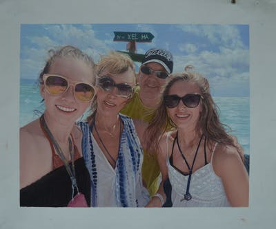 A painting of sunglasses, vacation, eyewear, fun, glasses, beach, vision care, summer, spring break, smile