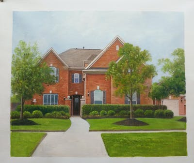 A painting of home, property, house, estate, real estate, residential area, neighbourhood, lawn, mansion, cottage