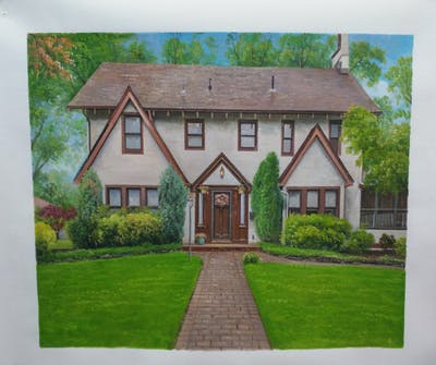 A painting of home, house, property, estate, cottage, real estate, grass, farmhouse, residential area, mansion
