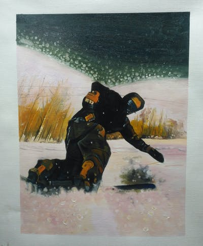 A painting of boardsport, snow, geological phenomenon, winter sport, extreme sport, personal protective equipment, snowboard, piste, winter, telemark skiing