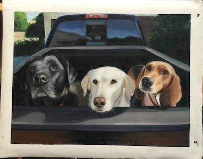 A painting of dog, car, dog breed, motor vehicle, vehicle, dog like mammal, snout, sedan, hound, beagle