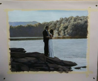 A painting of photograph, water, photography, male, wedding, ceremony, bride, romance, tree, event