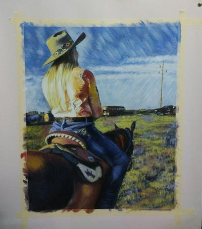A painting of bridle, grass, headgear, rein, cowboy, jeans, horse, horse tack, girl