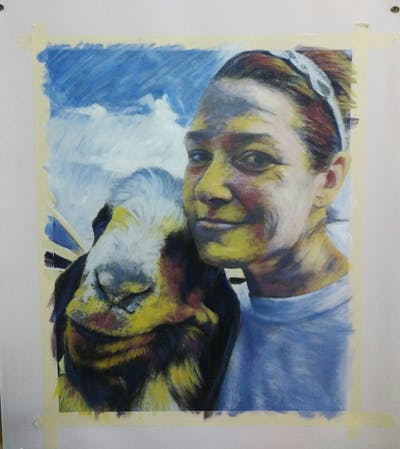 A painting of goats, goat, nose, selfie, livestock, snout, cow goat family, fur, ear, neck