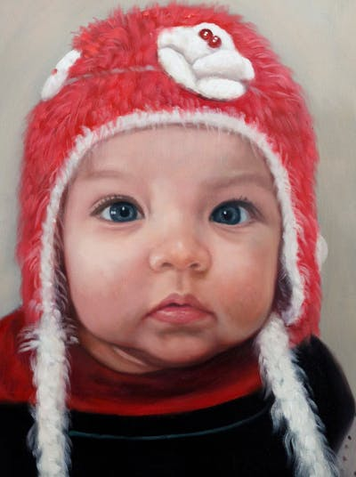 A painting of face, skin, child, cheek, pink, human hair color, infant, nose, eyebrow, head