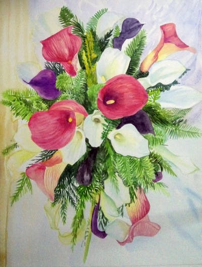 A painting of flower, flower bouquet, flower arranging, floristry, cut flowers, floral design, centrepiece, plant, flowering plant, petal