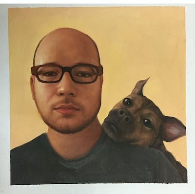 A painting of dog, glasses, eyewear, skin, nose, dog breed, facial hair, snout, ear, dog like mammal