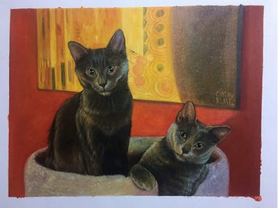 A painting of cat, small to medium sized cats, mammal, cat like mammal, korat, fauna, russian blue, chartreux, whiskers, nebelung