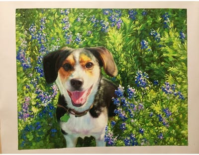 A painting of dog breed, flower, dog, plant, beagle, puppy, snout, grass, bluebonnet, wildflower