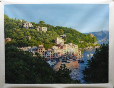 A painting of sky, body of water, city, tree, town, water, river, coast, sea, village