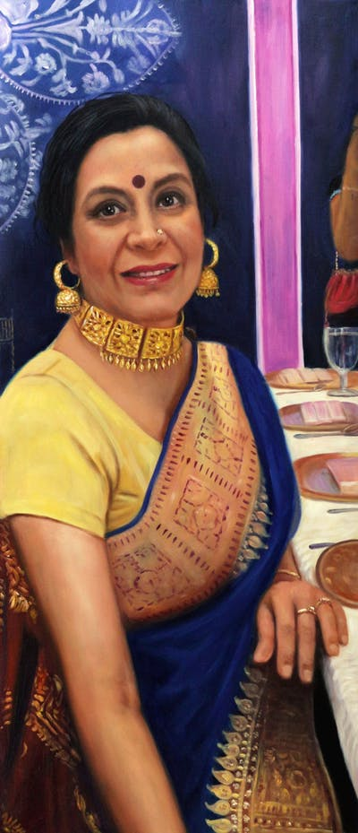 A painting of abdomen, trunk, lady, sari, beauty, fashion accessory, marriage, girl, smile, socialite