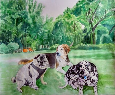 A painting of mammal, dalmatian, dog like mammal, dog, carnivoran, dog breed, snout, non sporting group, art, big cats