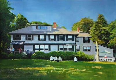 A painting of house, property, estate, home, mansion, real estate, farmhouse, cottage, villa, historic house