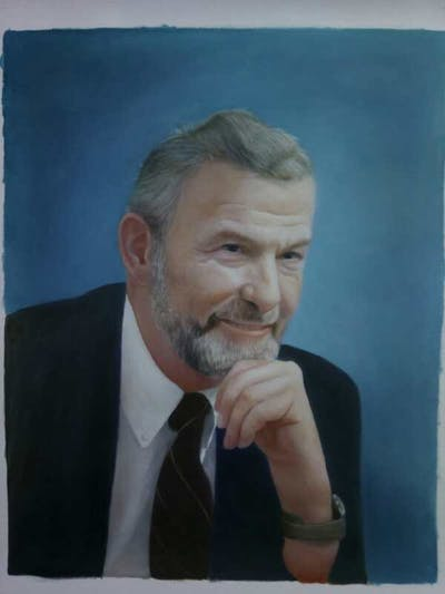 A painting of person, chin, facial hair, moustache, gentleman, forehead, elder, portrait, beard, senior citizen