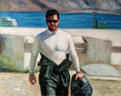 A painting of water, vacation, male, fun, recreation, beach, tourism, sea